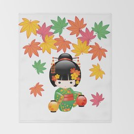 Japanese Fall Kokeshi Doll Throw Blanket