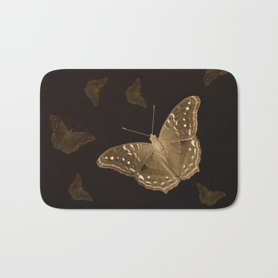 Butterflies in the dark Bath Mat