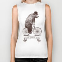 bears Biker Tanks featuring Bears on Bicycles by Eric Fan