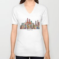 kansas V-neck T-shirts featuring kansas city Missouri skyline by bri.buckley