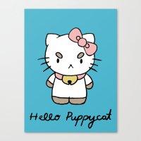 puppycat Canvas Prints featuring Hello Puppycat by Nate Galbraith