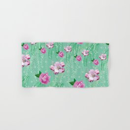 Blossom Willow Flower Pattern Turquoise & Pink Hand & Bath Towel