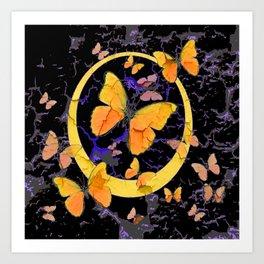 BLACK & YELLOW BUTTERFLIES VIGNETTE ABSTRACT ART Art Print
