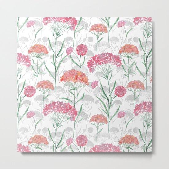 Watercolor pink-red, orange flowers. Metal Print