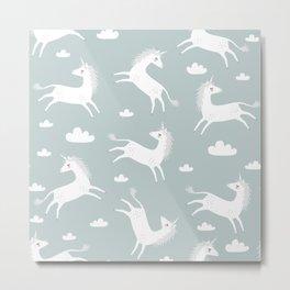 Unicorn with clouds Metal Print