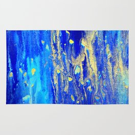 Gold & blue abstract d171013 Rug