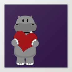 A Hippo with Heart Canvas Print