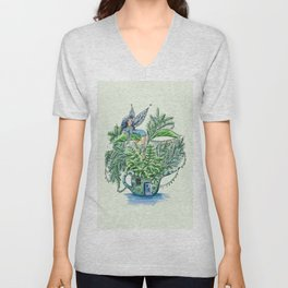 Blue Fairy On a Teapot Unisex V-Neck