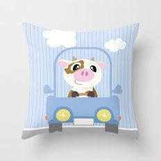 Mobil series car cow Throw Pillow