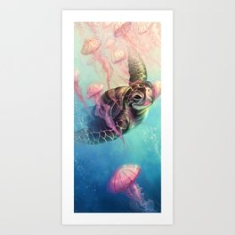 Sea Turtle and Jellyfish! Art Print