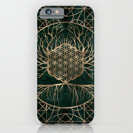 Flower of Life in Tree of life Malachite and Gold iPhone Case