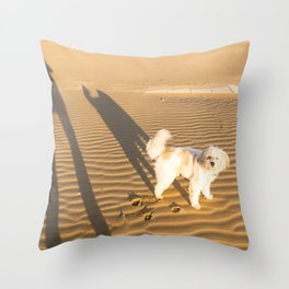 Shadows of a dog and his master on the sand in winter just after dawn Throw Pillow