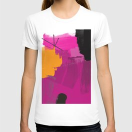 Purple abstract painting F06 pink black orange Digital painting T-shirt