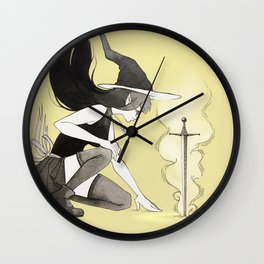 extracting the sword Wall Clock
