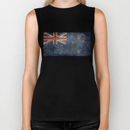 New Zealand Flag - Grungy retro style Biker Tank