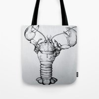 lobster Tote Bags featuring Lobster by Isabel Moffly