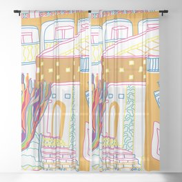The Terrace And Place Of Olé - Colorful Drawing Sheer Curtain