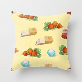 food design strawberry bread cream jam Throw Pillow