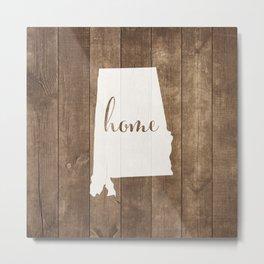 Alabama is Home - White on Wood Metal Print