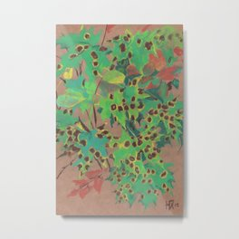 Dotty leaves, fall floral, pastel drawing, life sketch, nature art Metal Print