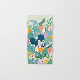 """Mickey Mouse in Flower Garden"" by Sun Lee Hand & Bath Towel"