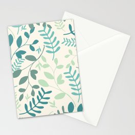 Leaves Teal Green Pattern Stationery Cards