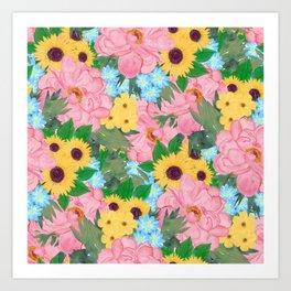 Trendy Pink Peonies Yellow Sunflowers Watercolor paint Art Print