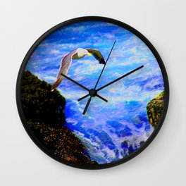 a sea bird aloft Wall Clock