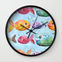 Against the flow - Colorful fish pattern painting Wall Clock