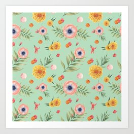 Hand painted coral yellow watercolor geometric floral Art Print