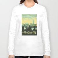 skyline Long Sleeve T-shirts featuring NYC Skyline by Studio Tesouro