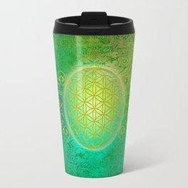 Flower Of Life Vintage gold green Travel Mug