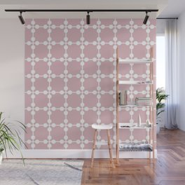 Droplets Pattern - Dusky Pink & White Wall Mural