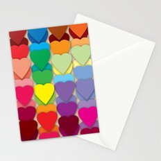 Colored Hearts Stationery Cards