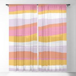 cali beach stripes Sheer Curtain