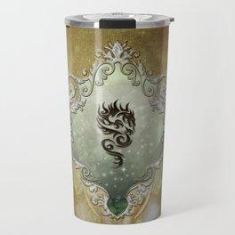 Wonderful tribal dragon on vintage background Travel Mug