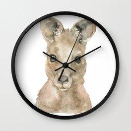 Kangaroo Face Watercolor Wall Clock