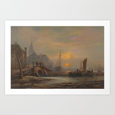 John Wilson Carmichael (1800-1868) Preparation of fishing boats, Low Countries Art Print