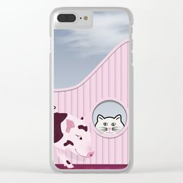 Baby Pig and Cat Design Clear iPhone Case