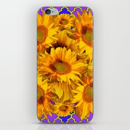YELLOW SUNFLOWERS ON PURPLE PATTERN DESIGN iPhone Skin