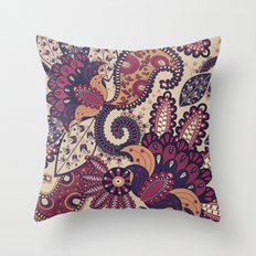 Maroon Boho Paisley & Floral Pattern Throw Pillow