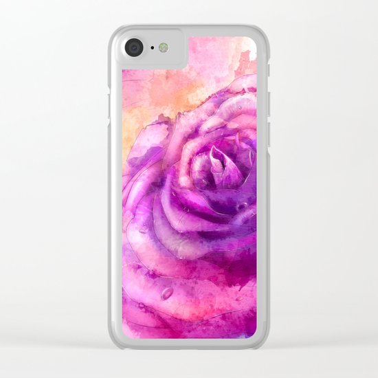 Watercolor rose painting Clear iPhone Case