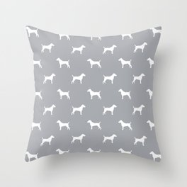 Jack Russell Terrier grey and white minimal dog pattern dog silhouette pattern Throw Pillow