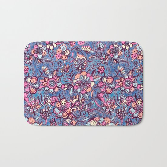Sweet Spring Floral - soft indigo & candy pastels Bath Mat