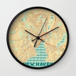 New Haven Map Retro Wall Clock