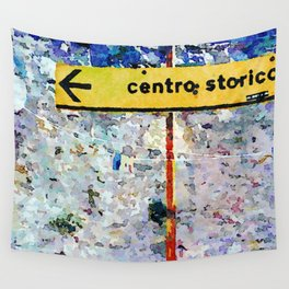 Borrello: road sign and clothes pegs Wall Tapestry