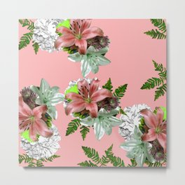 LILY PINK AND WHITE FLOWER Metal Print