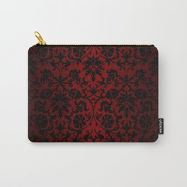 Dark Red and Black Damask Carry-All Pouch
