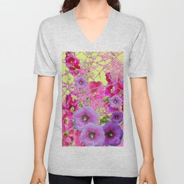CONTEMPORARY PINK & LILAC HOLLYHOCKS ART Unisex V-Neck