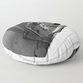 Coffee time - Black and white photography Floor Pillow